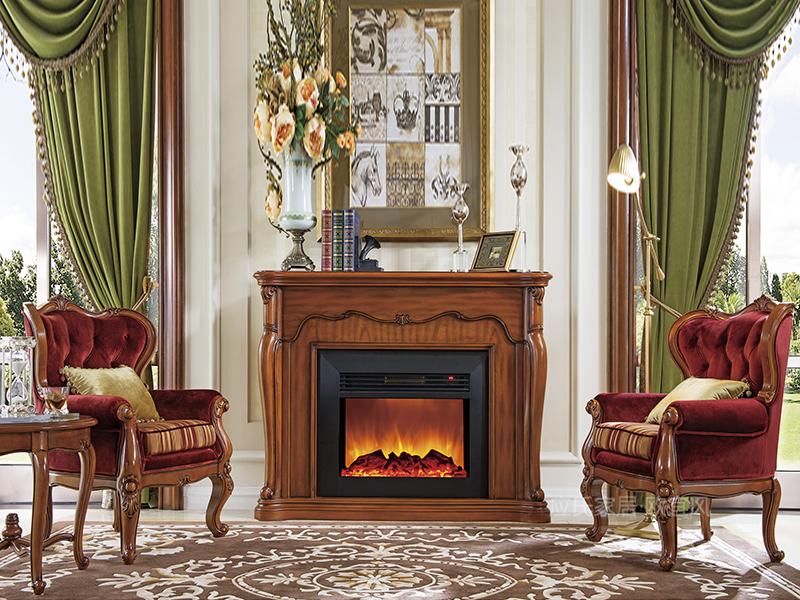 应氏家居·欧宜风 法式欧式客厅实木雕花布休闲椅2056B16BA00/壁炉/圆茶几