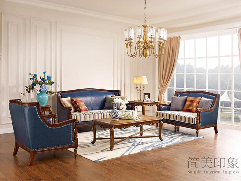 【简美印象·欧尚格家居】美式客厅实木经典款桃花芯木双人位/三人位/单人位沙发组合/长茶几/角几 