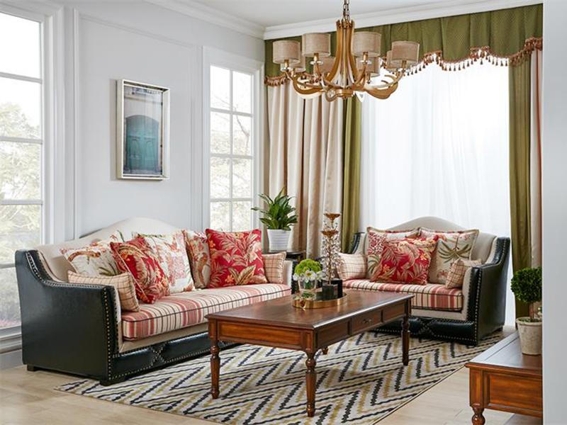 【简美印象·欧尚格家居】美式客厅实木经典款桃花芯木皮布结合三人位/单人位沙发组合/长茶几