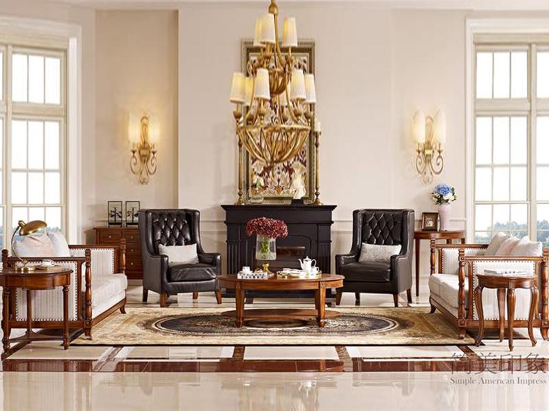 【简美印象·欧尚格家居】美式客厅桃花芯木皮布结合三人位沙发/茶几/皮艺休闲椅老虎椅
