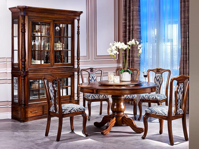 【简美印象·欧尚格家居】美式餐厅桃花芯木实木圆餐桌带转盘/无扶手餐椅/酒柜