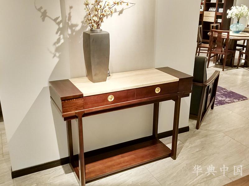 华典中国·欧尚格家居新中式客厅榆木实木简约玄关柜