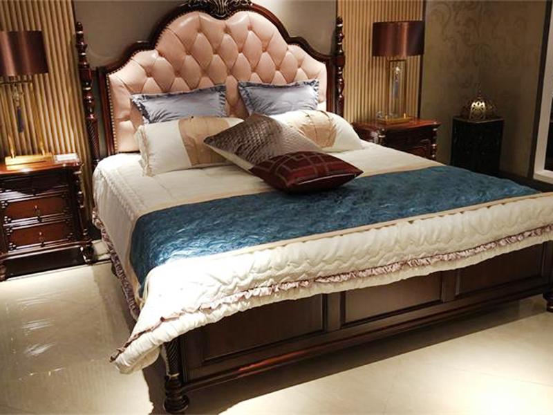 【融誉家具·欧尚格家居】美式卧室皮艺软靠实木桃花芯木床/床头柜/婚床主卧