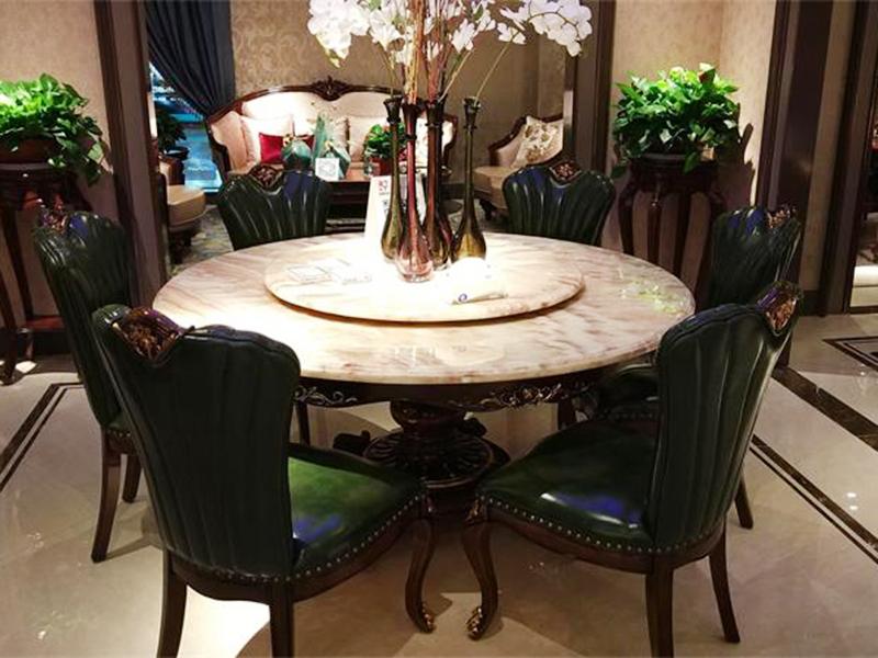 【融誉家具·欧尚格家居】美式餐厅实木大理石面桃花芯木圆餐桌/餐椅
