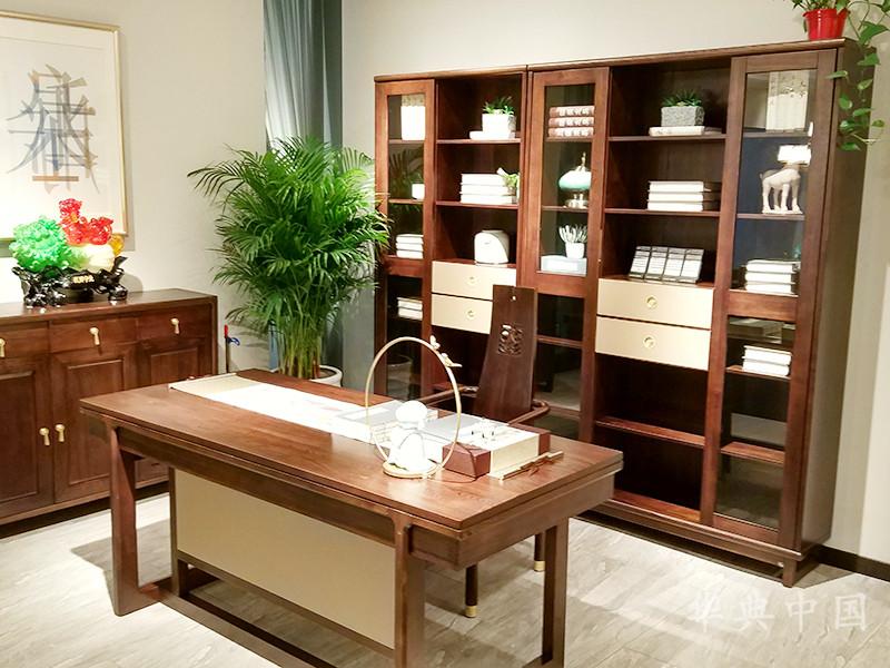 华典中国·欧尚格家居新中式书房榆木实木书桌椅+书柜组合
