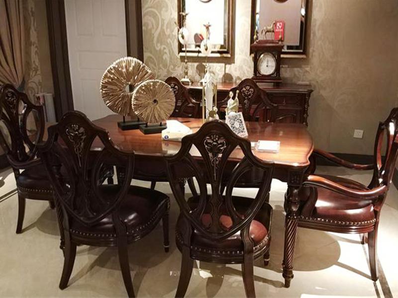 【融誉家具·欧尚格家居】美式餐厅实木桃花芯木长餐桌/餐椅