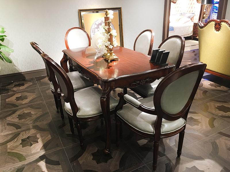 【融誉家具·欧尚格家居】美式餐厅实木桃花芯木长餐桌/餐椅(一桌六椅)