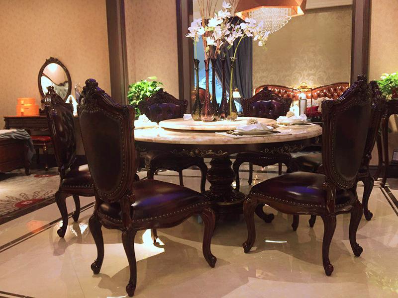 【欧尚格家具】融誉家具美式餐厅实木桃花芯木圆餐桌/餐椅(一桌六椅)
