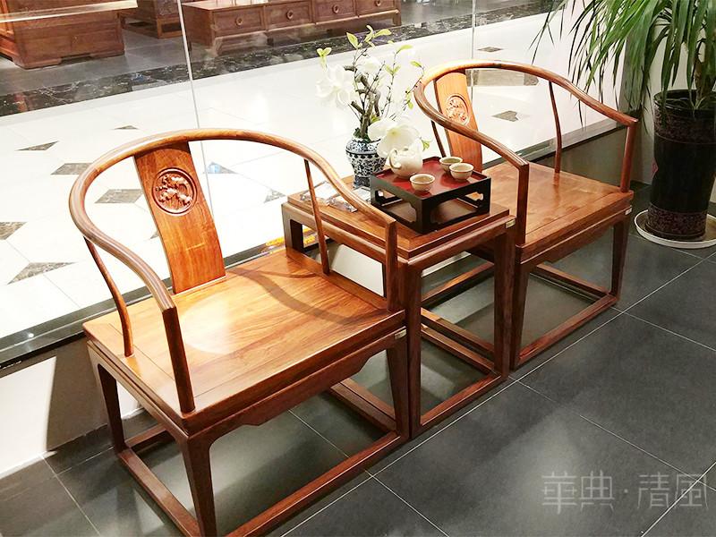 华典清风·欧尚格家居家具新中式客厅刺猬紫檀实木双人休闲椅+茶几组合
