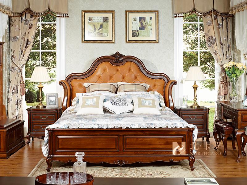 润达名家居·北卡罗家具美式卧室实木真皮软靠双人大床 床头柜