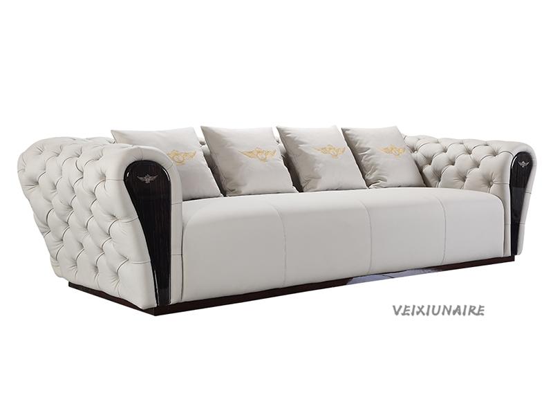 VEIXIUNAIRE微秀娜 意大利风格轻奢客厅浅色软体皮艺人位沙发1229-4