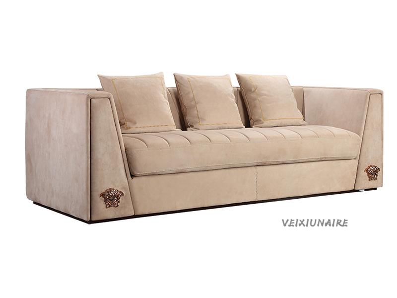 健辉家居·微秀娜家具 意大利风格轻奢客厅布艺三人位沙发1829-3