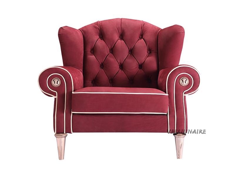 健辉家居·微秀娜家具 意大利风格轻奢客厅布艺单人位沙发/老虎椅1826-1