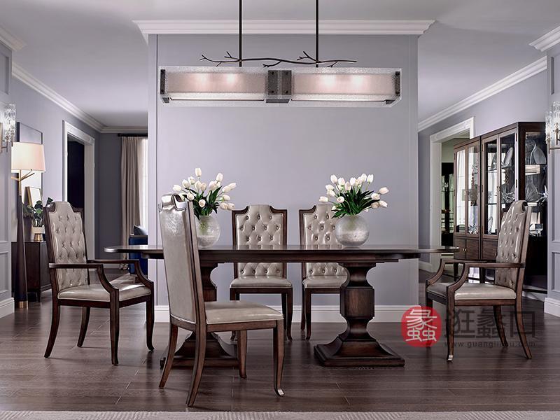 优胜美地家具·爵典家居美式餐厅桃花芯木实木精致优雅餐桌椅组合
