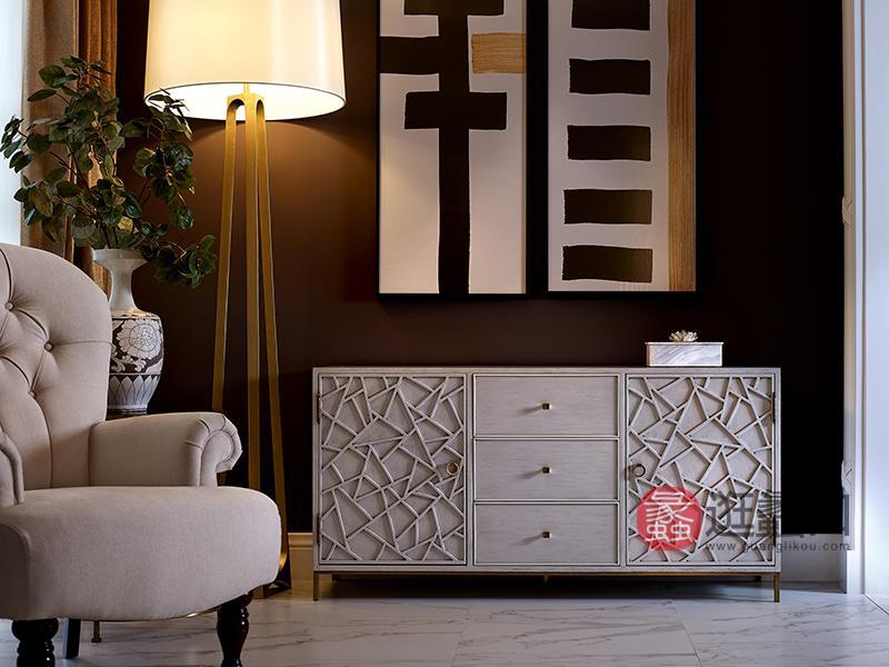 优胜美地家具·爵典家居美式客厅桃花芯木实木优雅简约玄关柜