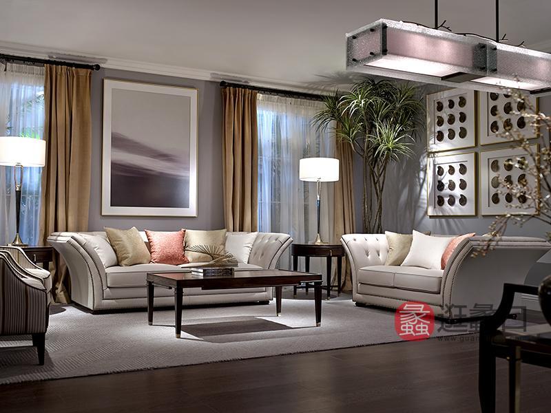 优胜美地家具·爵典家居美式客厅桃花芯木实木典雅舒适沙发+茶几组合