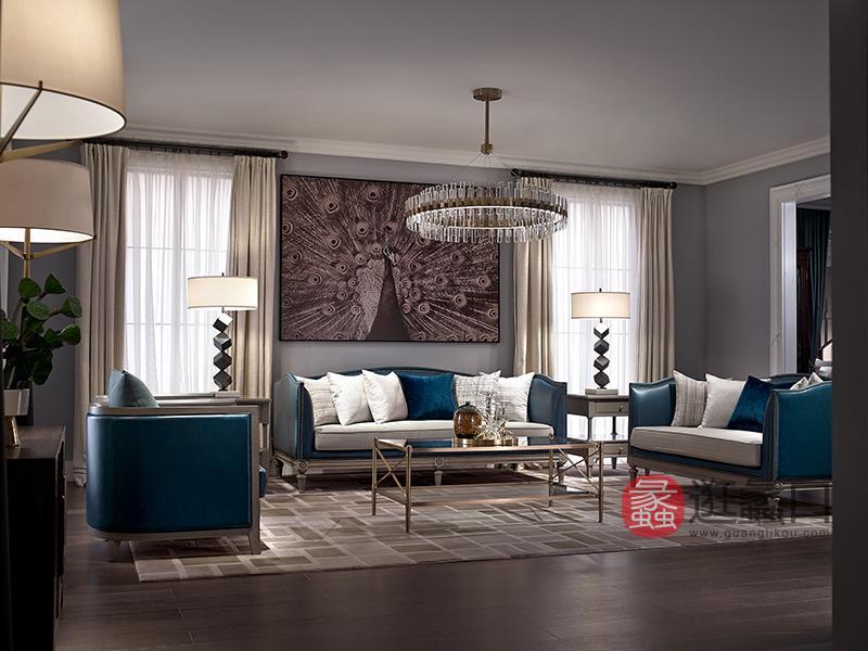 优胜美地家具·爵典家居美式客厅桃花芯木实木时精致沙发+茶几组合