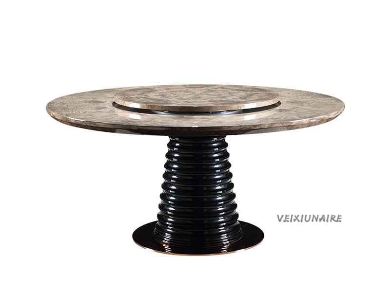 VEIXIUNAIRE微秀娜家具 意大利风格轻奢餐厅大理石面圆餐桌带转盘1245