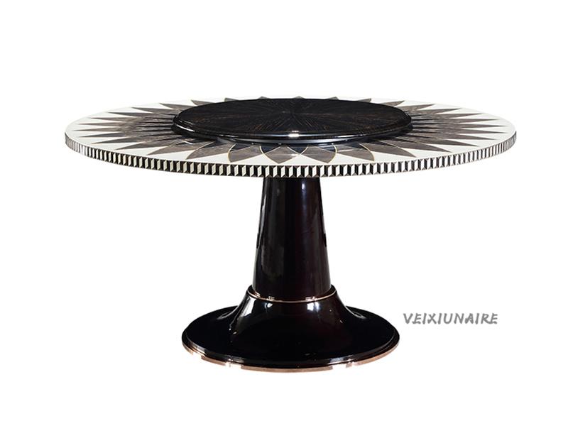 健辉家居·微秀娜家具 意大利风格轻奢餐厅大理石面圆餐桌1812