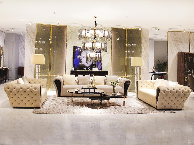 健辉家居·微秀娜家具 意大利风格轻奢客厅双人位/三人位/单人位沙发/茶几