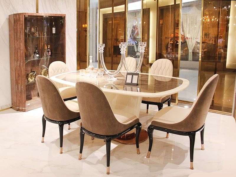健辉家居·微秀娜家具 意大利风格轻奢餐厅大理石面长餐桌/餐椅