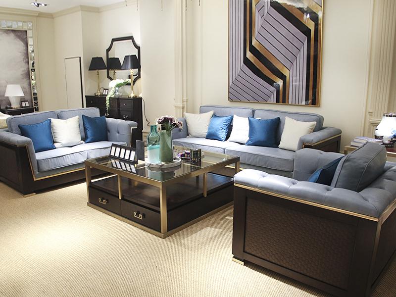 健辉家居·美郡柏纷家具 美式轻奢客厅实木双人位/三人位/单人位沙发组合/长茶几