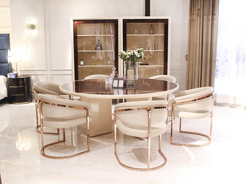 健辉家居·微秀娜家具 意大利风格轻奢餐厅圆餐桌(一桌六椅)