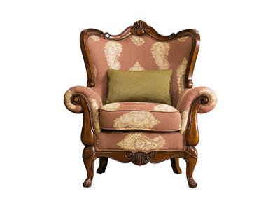 润达名家居·北卡罗家具美式简美新古典客厅实木单人位沙发