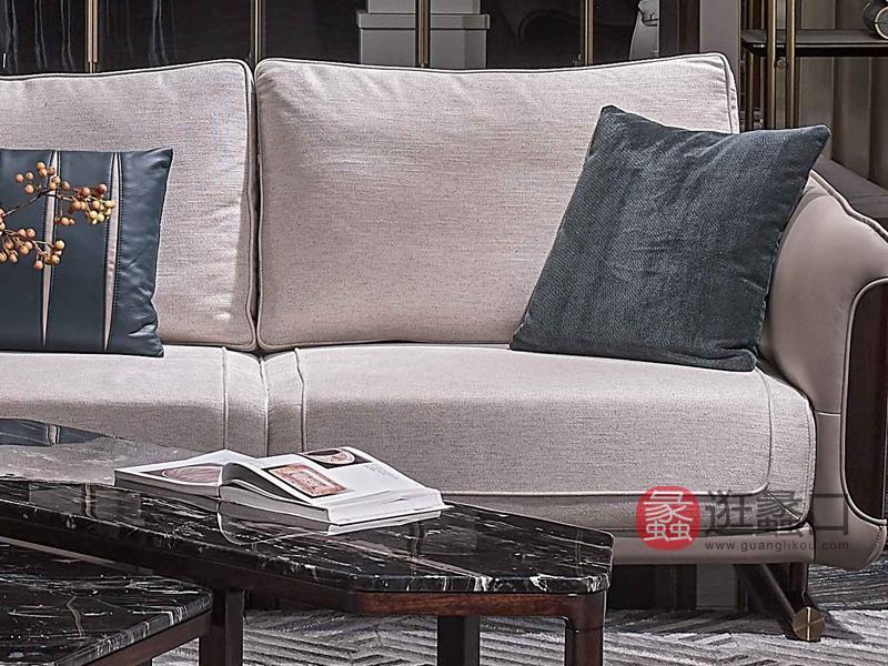 润达名家居·柏森-铂瑞客厅轻奢实木沙发BS011三人位沙发