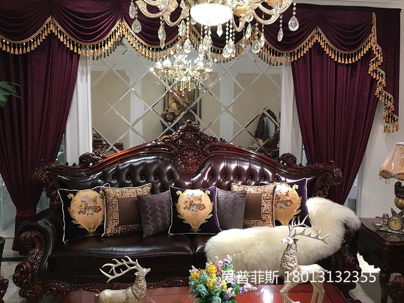爱普菲斯家具欧式厅实木雕花头层牛皮四人位沙发组合/茶几/电视柜