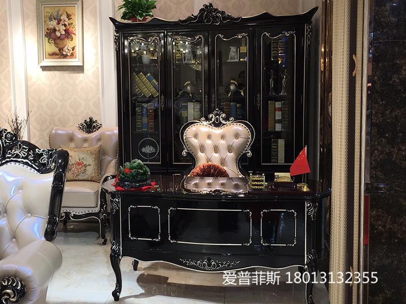 爱普菲斯家具欧式新古典黑檀色书房实木皮艺书桌椅/书柜