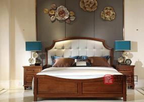 奥斯汀家具美式套房实木家具头层牛皮双人床