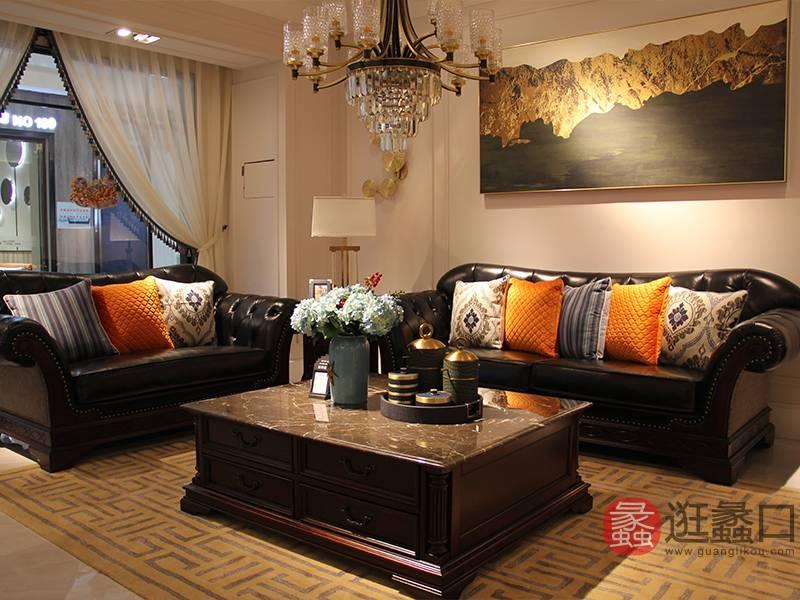 榞野美墅-科尼美赫家具美式客厅金丝木纯实木双人位/三人位沙发长茶几组合