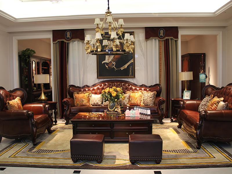 榞野美墅-科尼美赫家具美式客厅金丝木纯实木双人位/三人位/单人位沙发长茶几