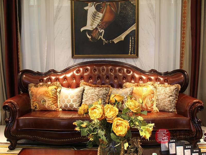 榞野美墅-科尼美赫家具美式客厅金丝木实木三人位沙发