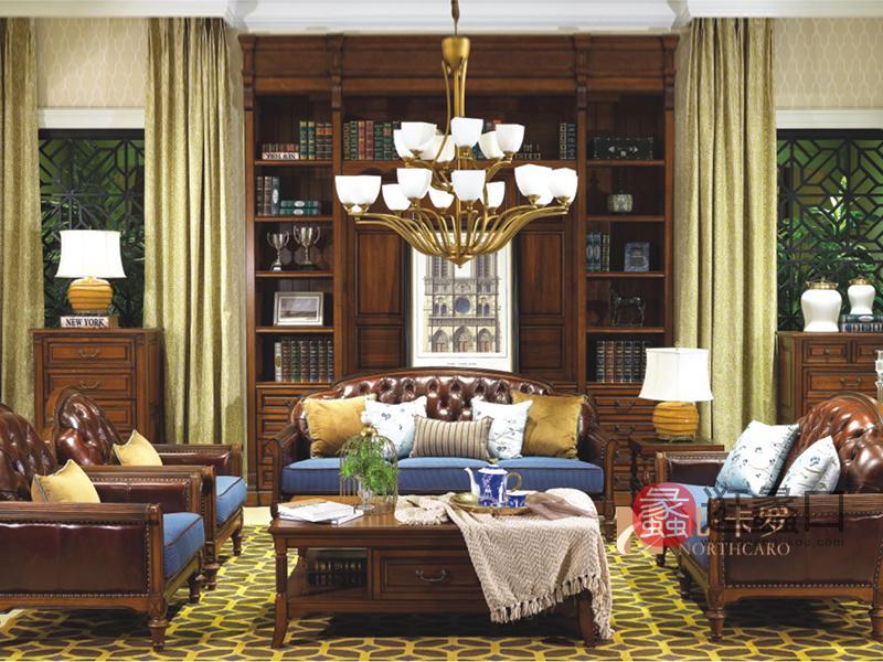 润达名家居·北卡罗家具美式客厅胡桃木三人位/双人位/单人位皮艺沙发组合