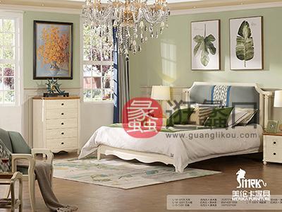 健辉家居·美伦卡家具香缇丽舍美式卧室白蜡木仿古白加原木色双人大床MLK005