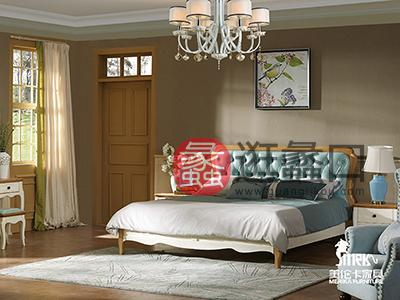 健辉家居·美伦卡家具香缇丽舍美式卧室白蜡木原木色加浅蓝色皮质双人大床