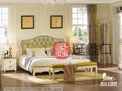 健辉家居·美伦卡家具香缇丽舍美式卧室白蜡木仿古白加原木色加浅绿色皮质双人大床