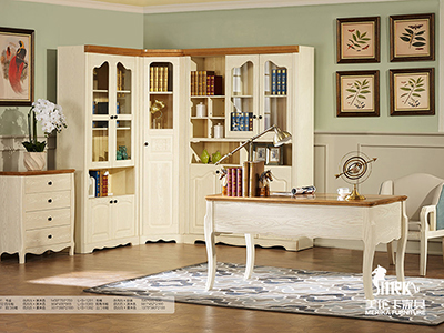 健辉家居·美伦卡家具香缇丽舍美式餐厅白蜡木仿古色加原木色书桌加转角书柜