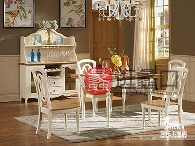 健辉家居·美伦卡家具香缇丽舍美式餐厅白蜡木仿古白加原木色折叠餐桌椅
