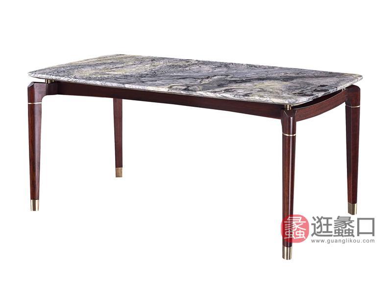 润达名家居·柏森-铂瑞轻奢餐厅实木大理石餐桌BS072餐桌