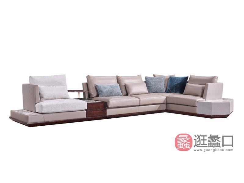 润达名家居·柏森-铂瑞轻奢客厅实木皮沙发组合BS082沙发