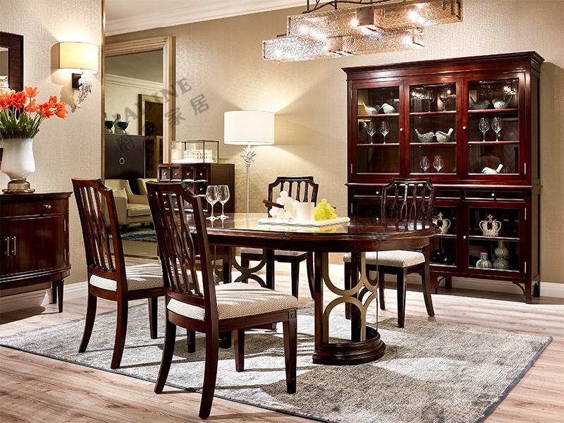 优胜美地V5·爵典家居 美式餐厅实木一桌6椅