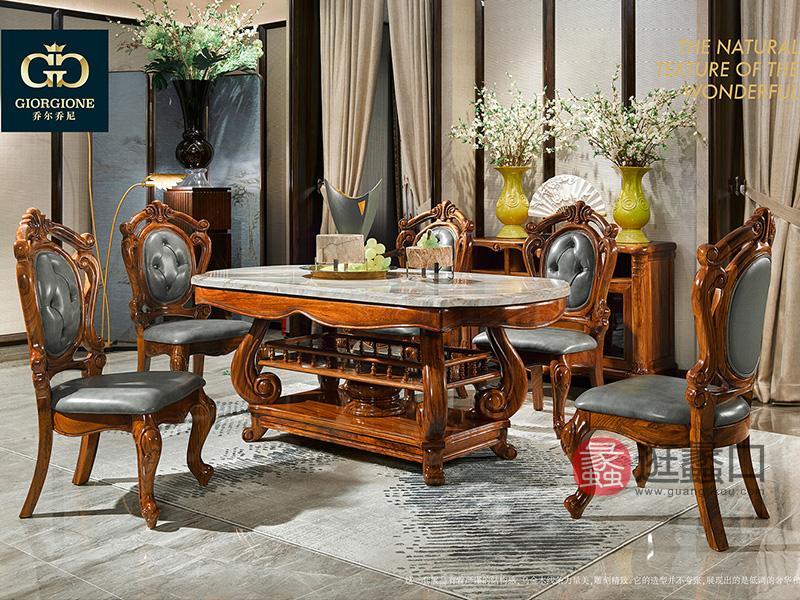 应氏家居·乔尔乔尼家具欧式餐厅实木真皮软座餐桌椅组合YS021