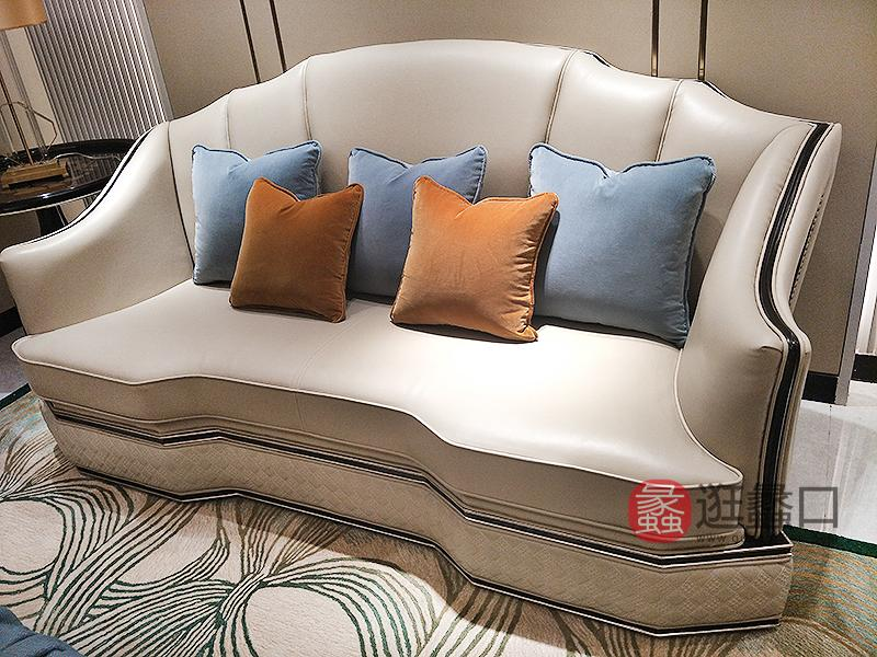 应氏家居·缇迈家意式轻奢新古典客厅皮艺三人位沙发