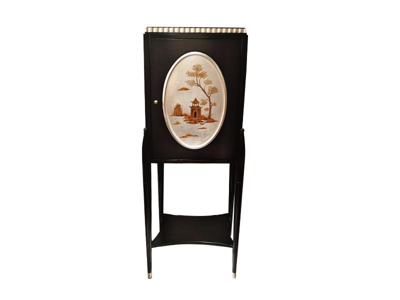 应氏家居·缇迈系列意式轻奢新古典客厅实木黑色单门储物柜YS037