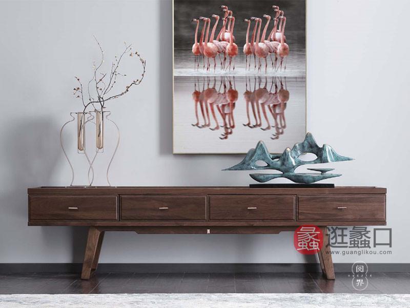 阅界新中式家具新中式客厅北美黑胡桃实木简约电视机柜