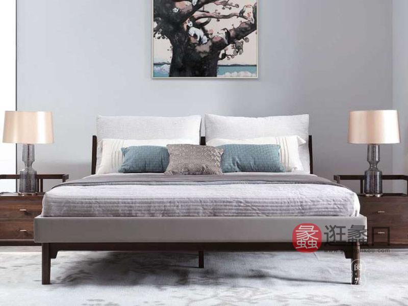 阅界新中式家具新中式卧室北美黑胡桃实木雅致时尚舒适大床+床头柜组合