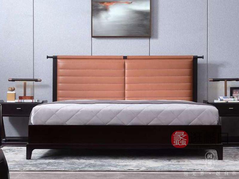 阅界新中式家具新中式卧室紫檀实木时尚艺术双人床+床头柜组合